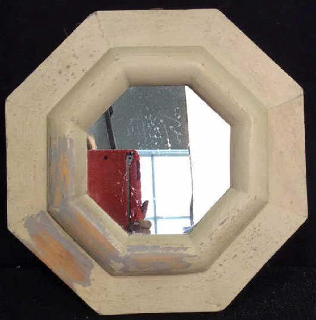 White Washed Octagonal Mirror Wood framed mirror