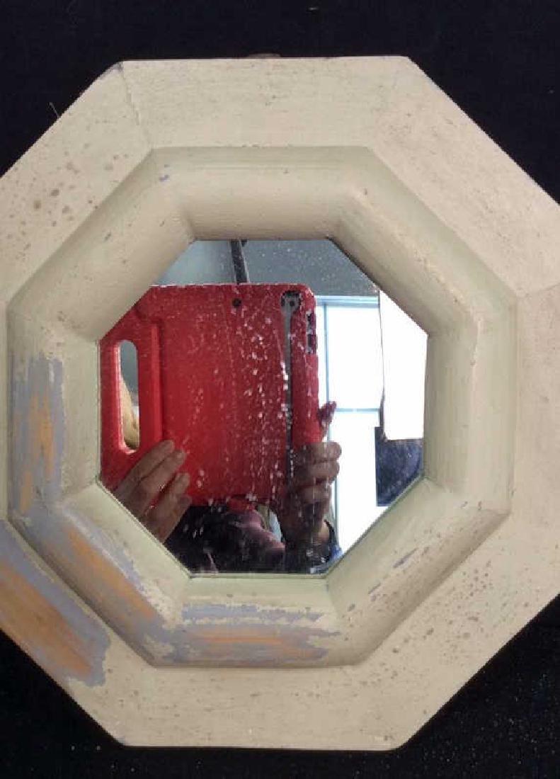 White Washed Octagonal Mirror Wood framed mirror - 2