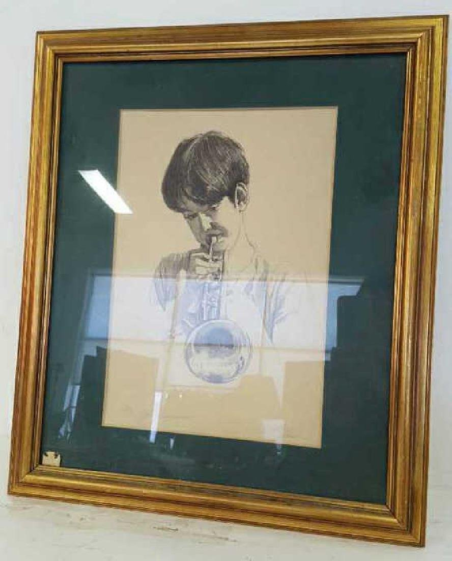 Young Musician Sketch Signed Kelly Clark Young Musician
