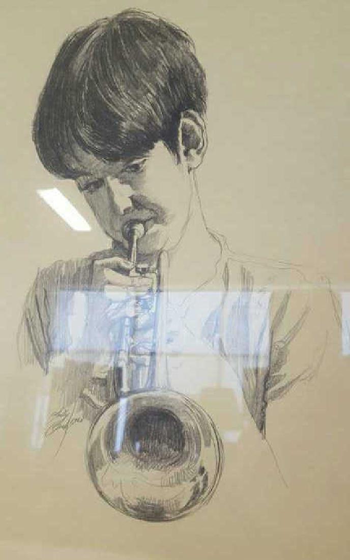 Young Musician Sketch Signed Kelly Clark Young Musician - 2