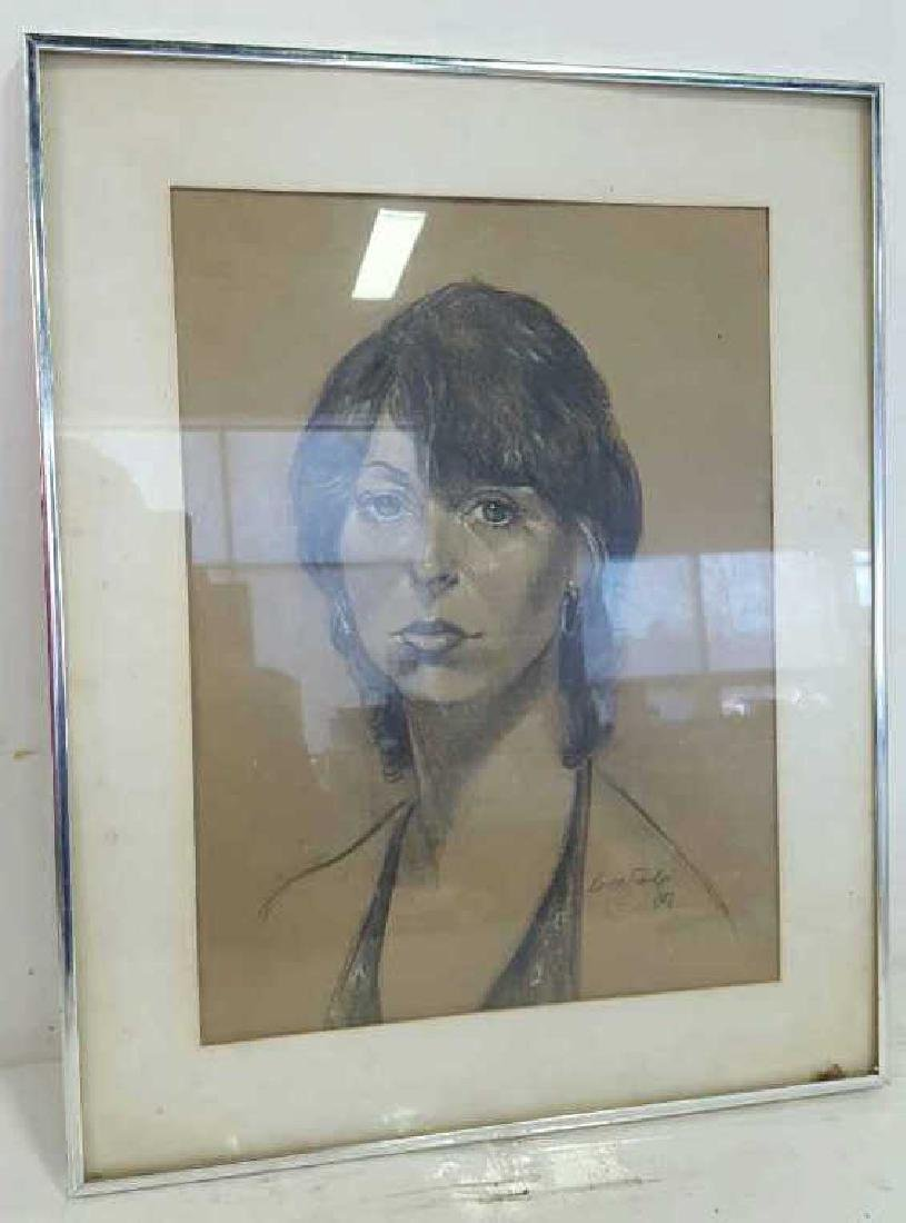 Portrait of Woman Sketch Signed Buddy Saeds Portrait of