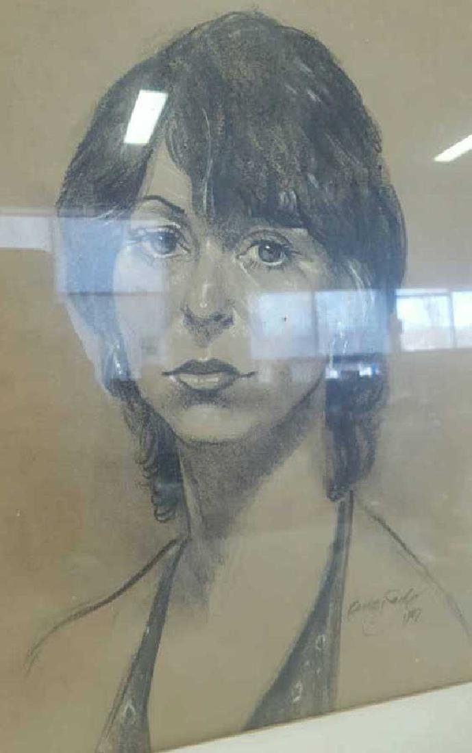 Portrait of Woman Sketch Signed Buddy Saeds Portrait of - 2