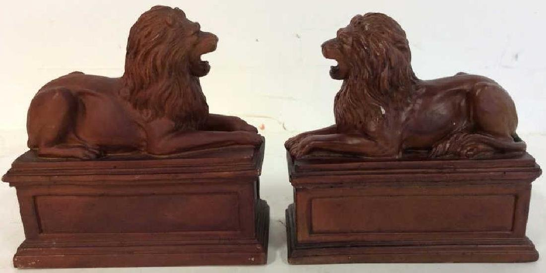 Pair Painted Metal Lion Book Ends Pair Vintage painted - 5