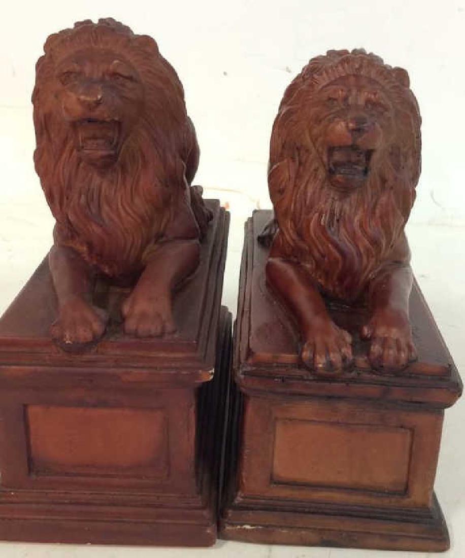 Pair Painted Metal Lion Book Ends Pair Vintage painted - 6