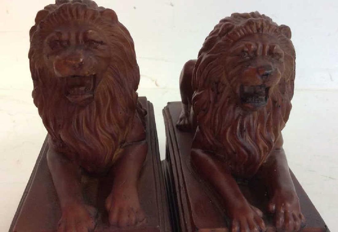 Pair Painted Metal Lion Book Ends Pair Vintage painted - 7