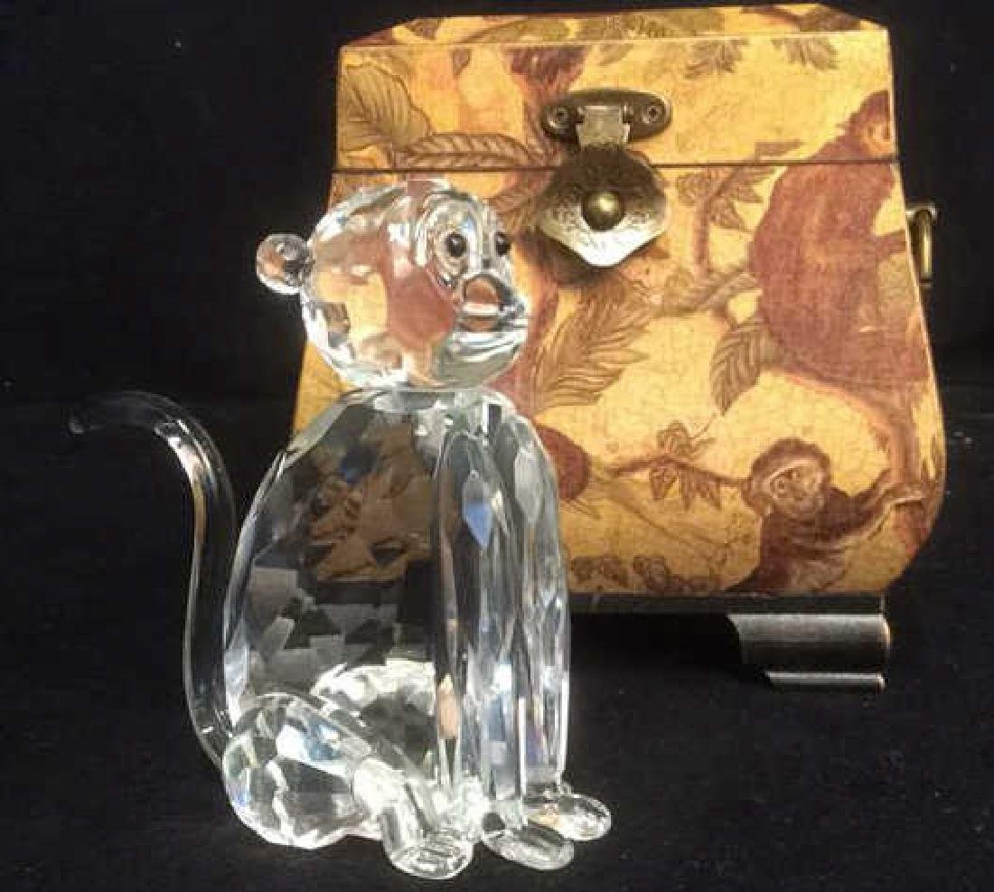 Crystal Faceted Monkey Figurine Wood Monkey Box Crystal