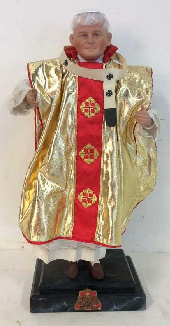 Porcelain Costumed Pope Doll on Stand Porcelain Doll