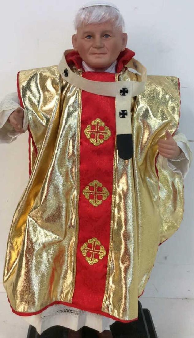 Porcelain Costumed Pope Doll on Stand Porcelain Doll - 2