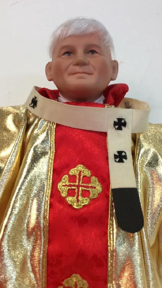 Porcelain Costumed Pope Doll on Stand Porcelain Doll - 4