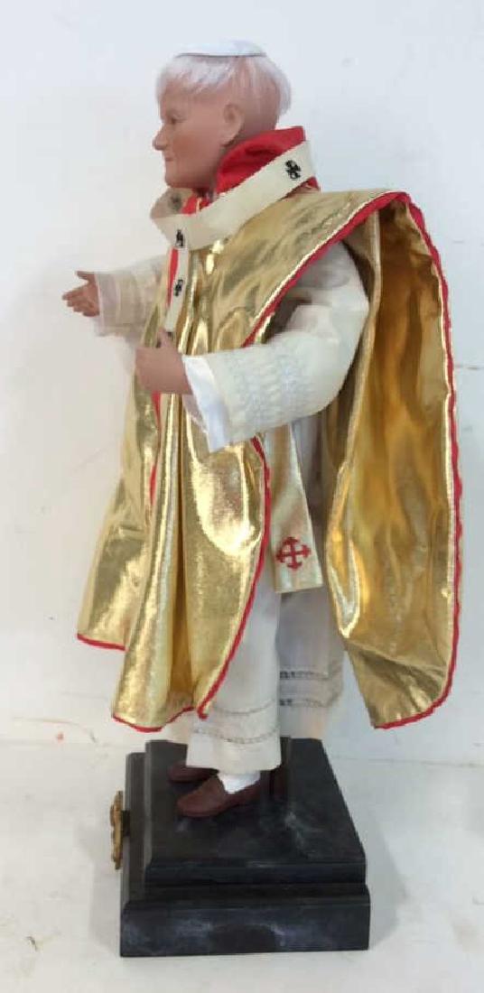 Porcelain Costumed Pope Doll on Stand Porcelain Doll - 5