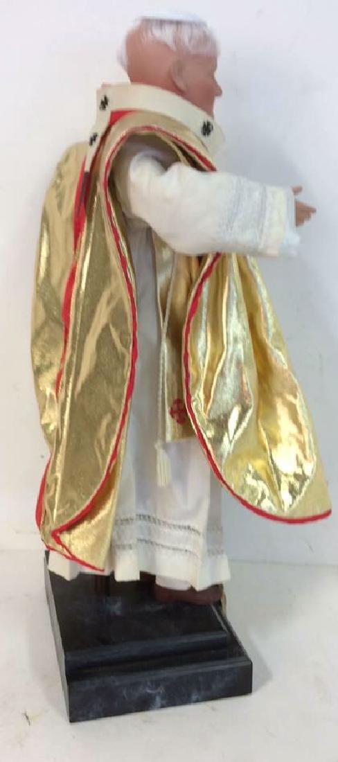 Porcelain Costumed Pope Doll on Stand Porcelain Doll - 7