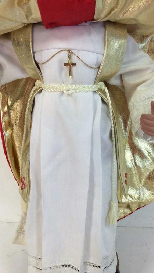 Porcelain Costumed Pope Doll on Stand Porcelain Doll - 8