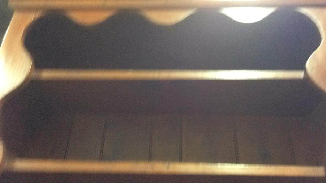Antique Country Wood Hutch Scalloped Open Shelving with - 10