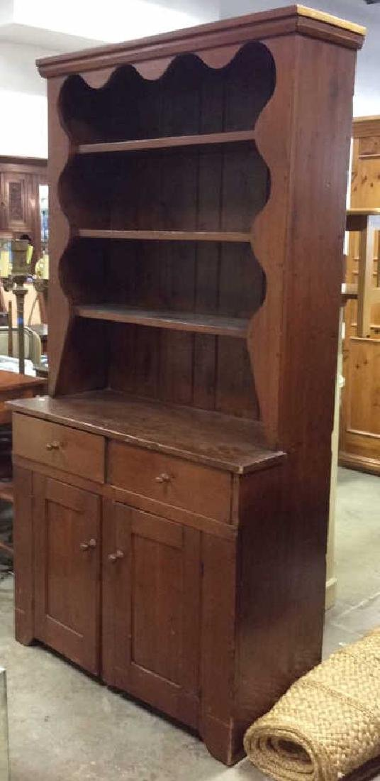 Antique Country Wood Hutch Scalloped Open Shelving with