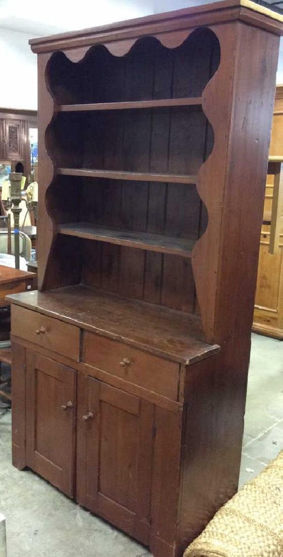 Antique Country Wood Hutch Scalloped Open Shelving with - 2