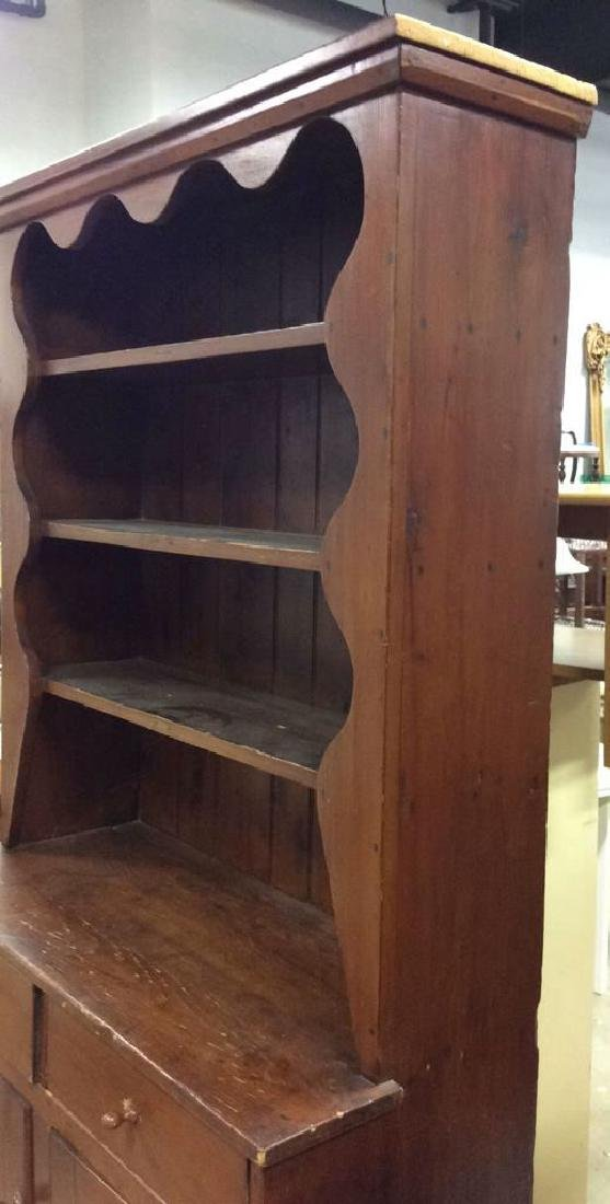 Antique Country Wood Hutch Scalloped Open Shelving with - 3