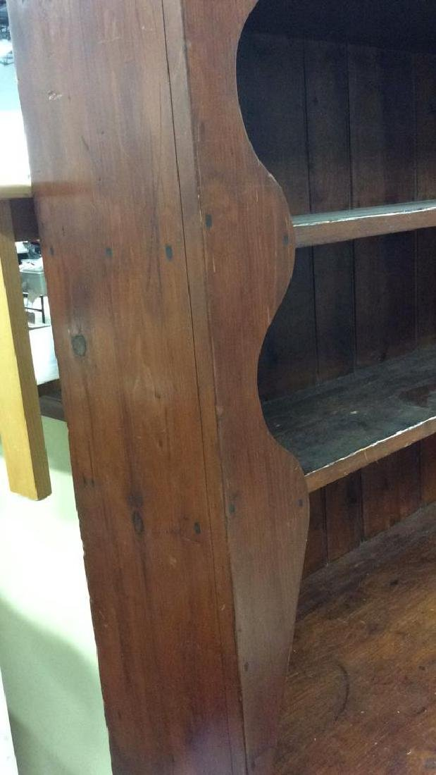 Antique Country Wood Hutch Scalloped Open Shelving with - 7