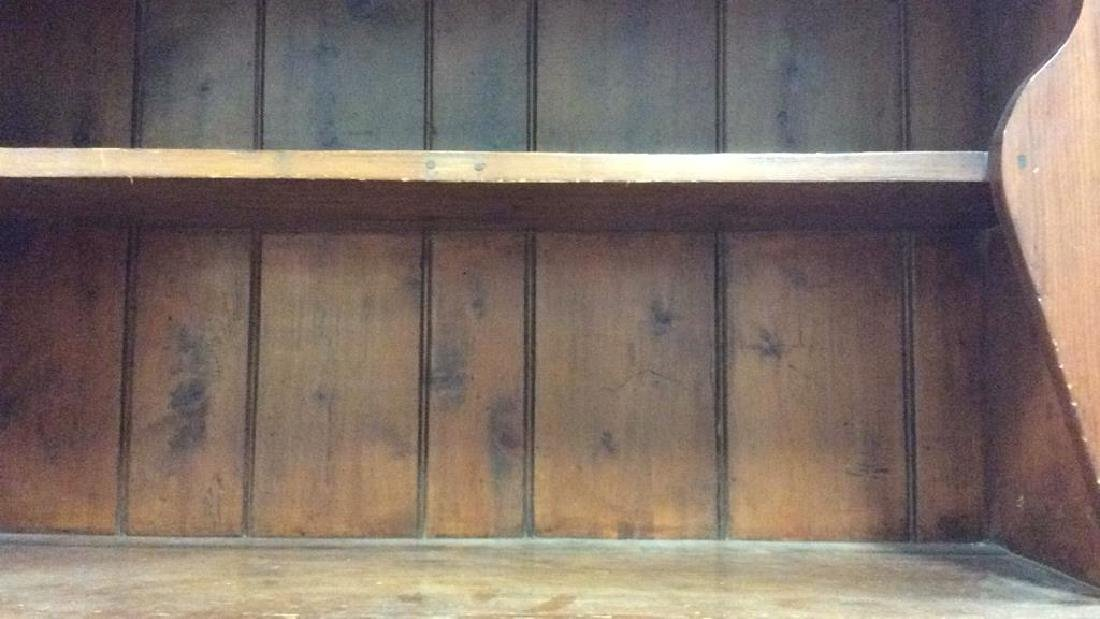 Antique Country Wood Hutch Scalloped Open Shelving with - 9