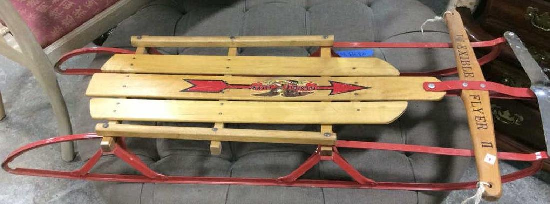 Vintage Flexible Flyer II Sled Iron and wood sled
