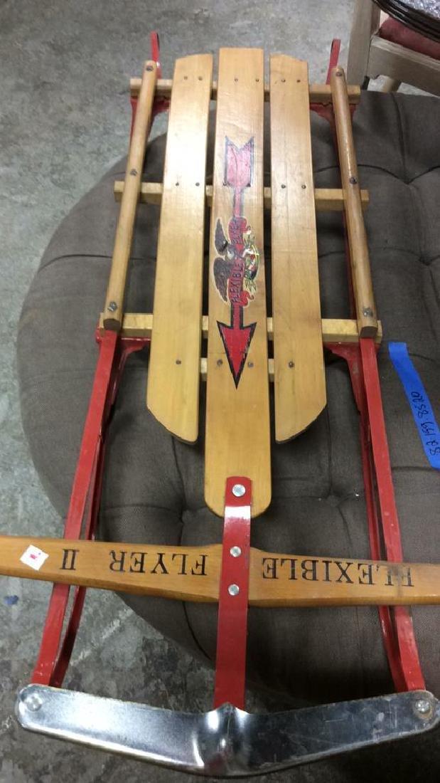Vintage Flexible Flyer II Sled Iron and wood sled - 6