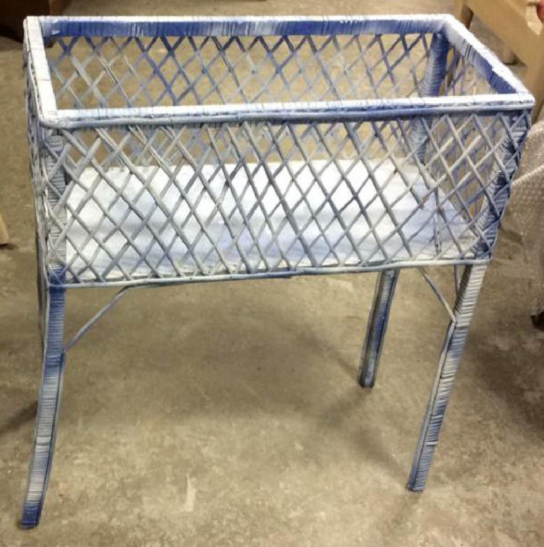 Painted Vintage Wicker Plant Holder Plant Stand plant - 2