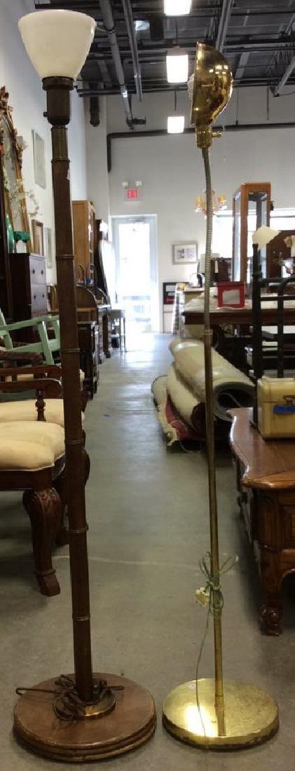 2 Vintage Floor Lamps, wood Brass Chrome Wood floor