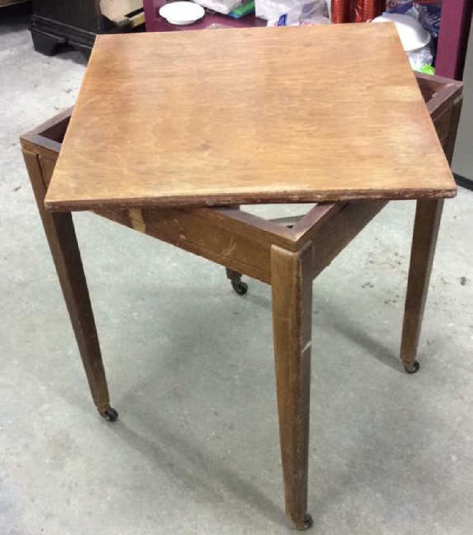 Vintage Wood Turntable on Casters Vintage wood end
