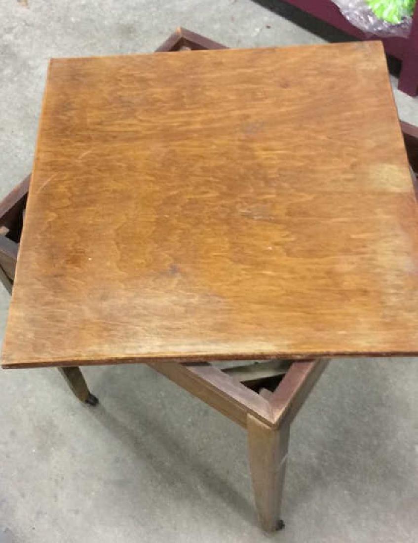 Vintage Wood Turntable on Casters Vintage wood end - 2