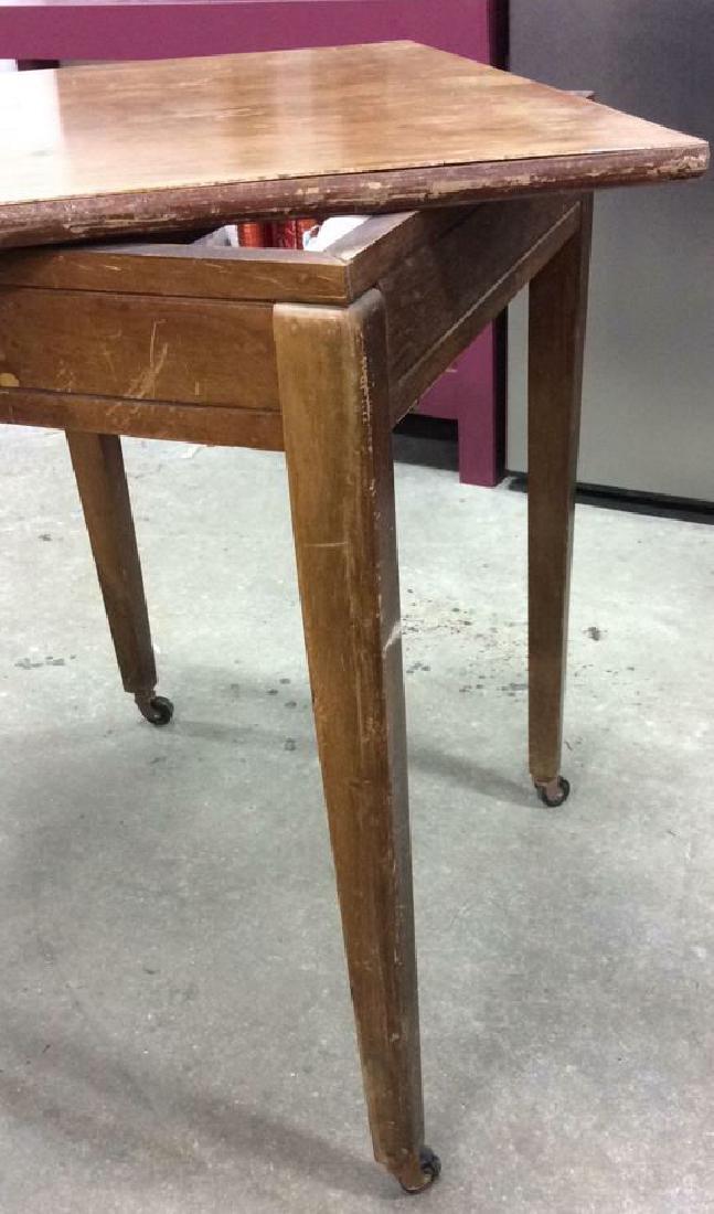 Vintage Wood Turntable on Casters Vintage wood end - 3