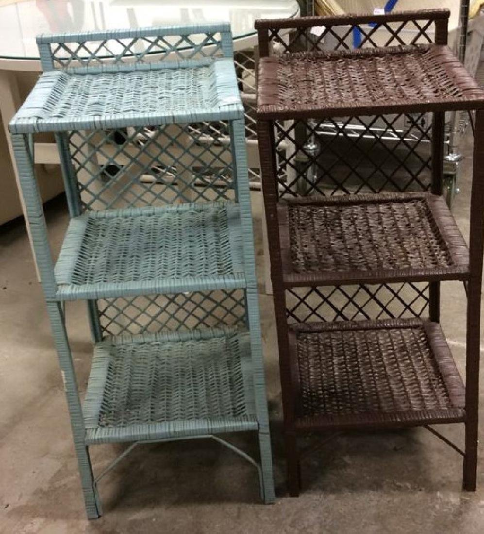 Brown Aqua Wicker Shelved End Tables Each Wicker stand