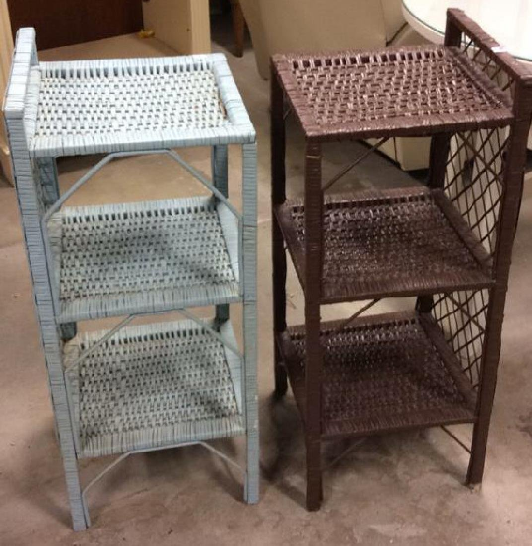 Brown Aqua Wicker Shelved End Tables Each Wicker stand - 2