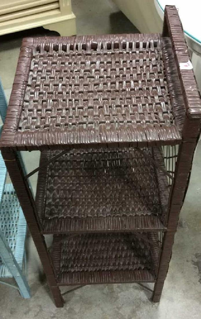 Brown Aqua Wicker Shelved End Tables Each Wicker stand - 4