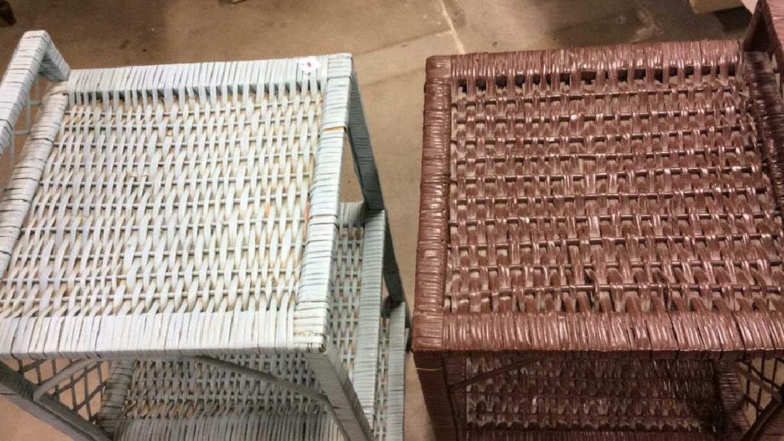 Brown Aqua Wicker Shelved End Tables Each Wicker stand - 5