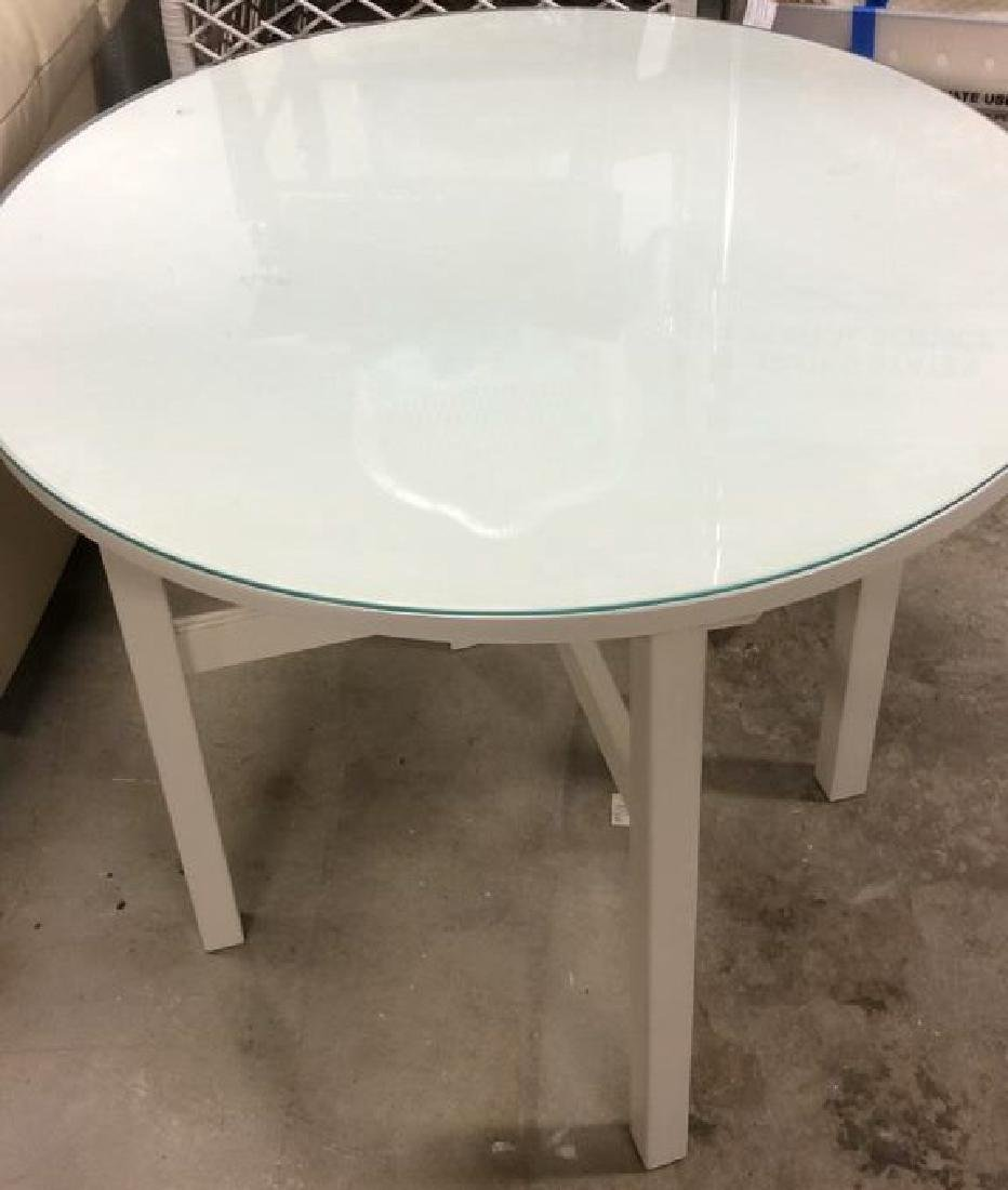 Circular White Wood Table Glass Top White Wood and no - 2