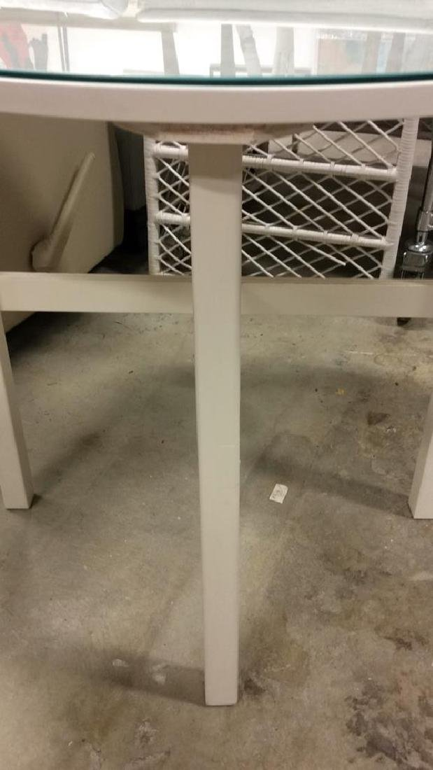 Circular White Wood Table Glass Top White Wood and no - 4