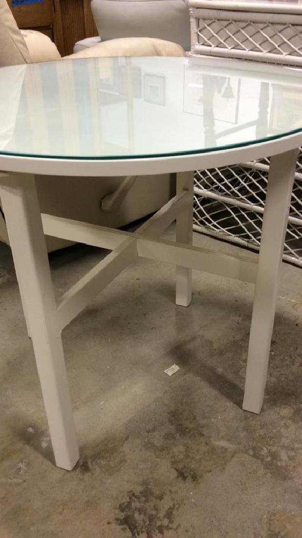 Circular White Wood Table Glass Top White Wood and no - 5