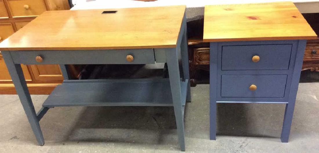 Ethan Allen Blue and Pine Desk Night Table Marked for