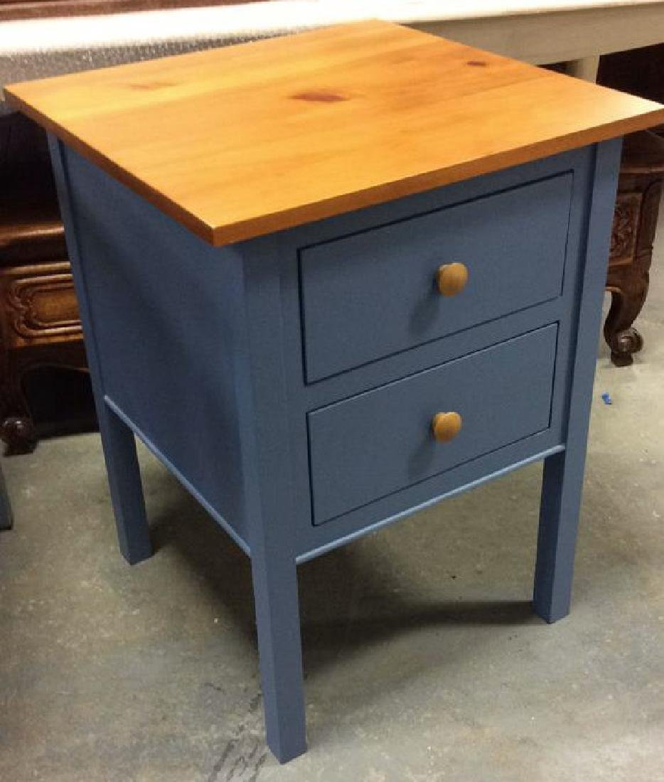 Ethan Allen Blue and Pine Desk Night Table Marked for - 2