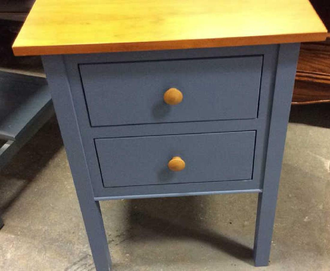 Ethan Allen Blue and Pine Desk Night Table Marked for - 3