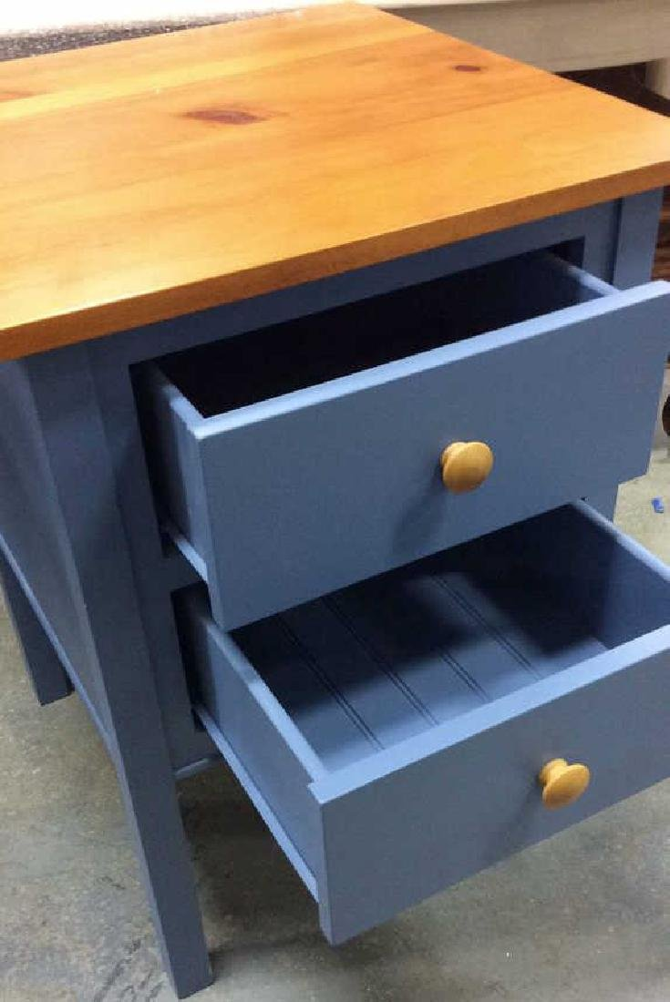 Ethan Allen Blue and Pine Desk Night Table Marked for - 4