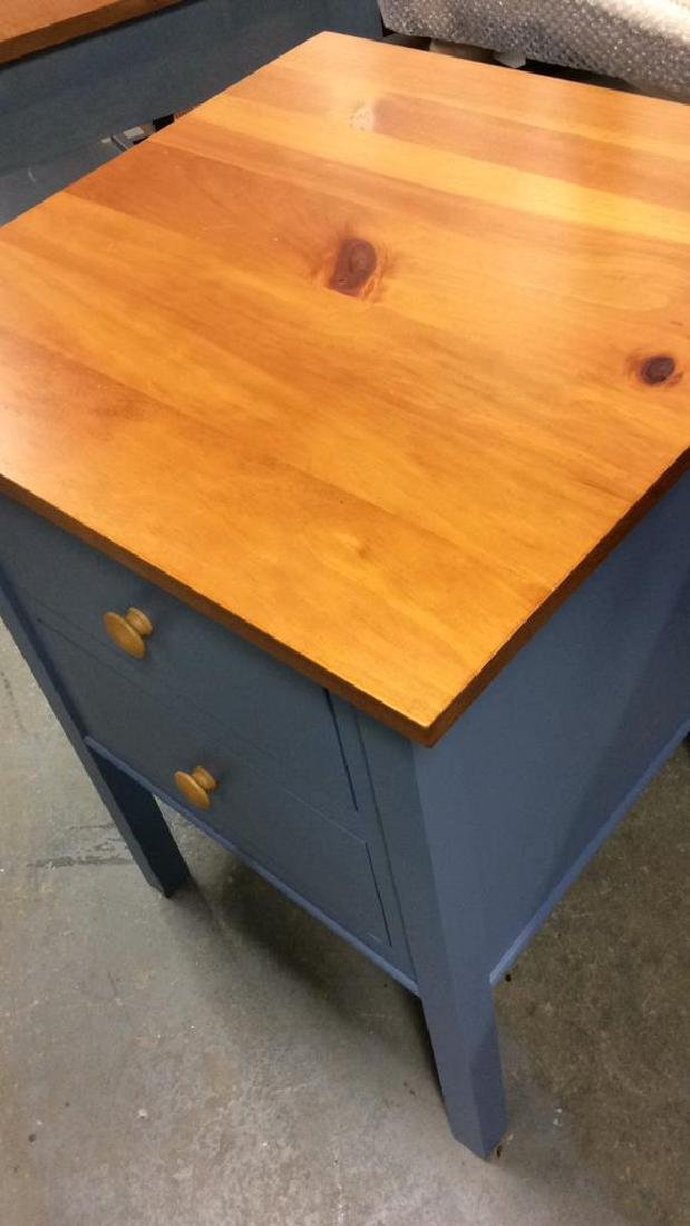 Ethan Allen Blue and Pine Desk Night Table Marked for - 5