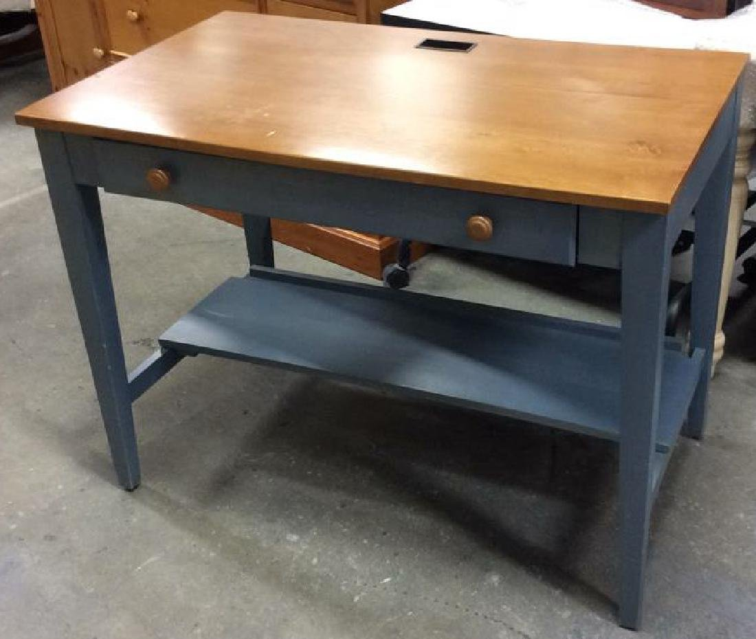 Ethan Allen Blue and Pine Desk Night Table Marked for - 6