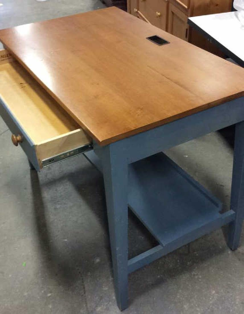 Ethan Allen Blue and Pine Desk Night Table Marked for - 8