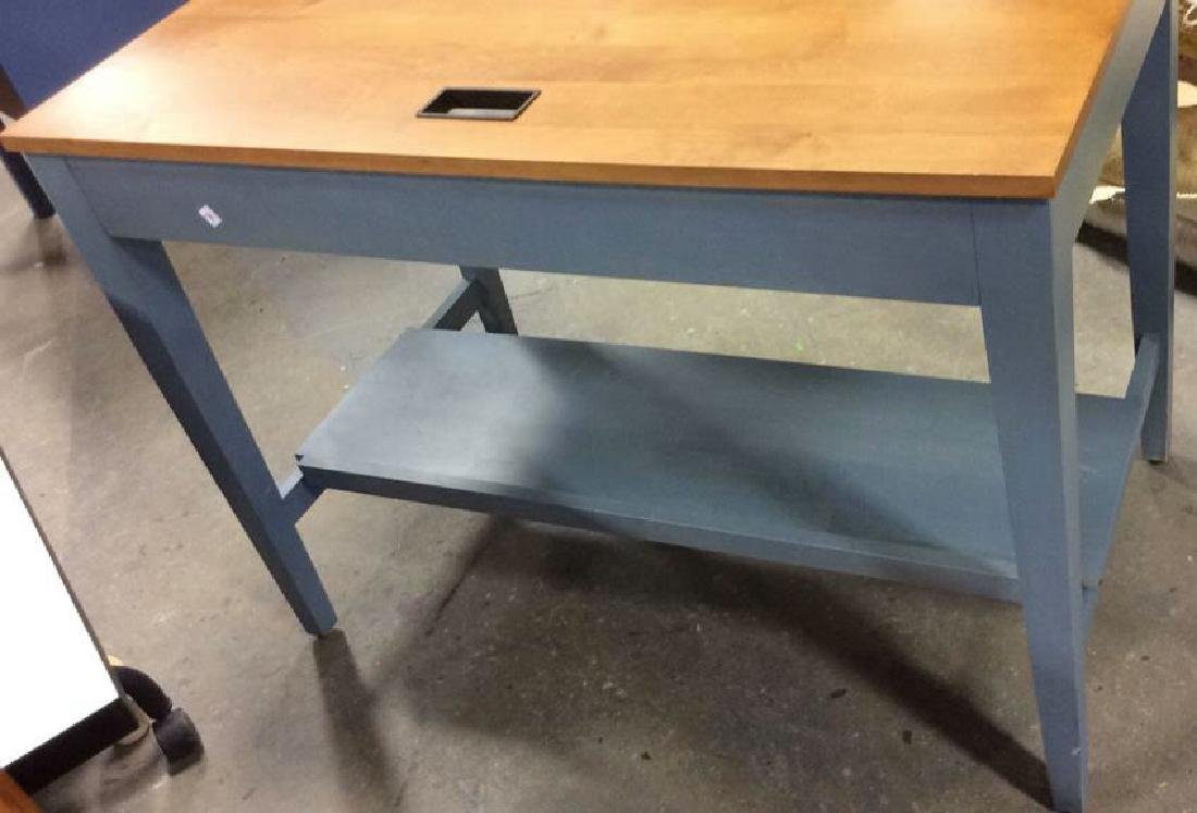 Ethan Allen Blue and Pine Desk Night Table Marked for - 9