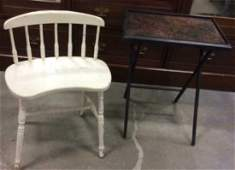 Vintage Vanity Chair Folding TV Tray Table White