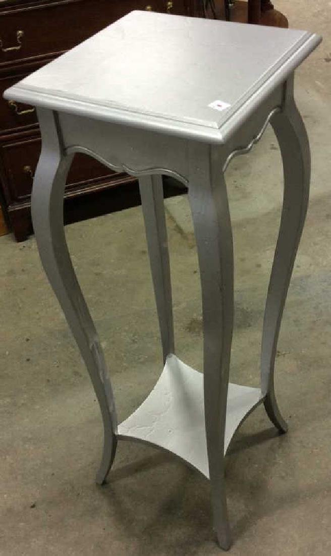 Silver Painted Wood Plant Stand Plant Stand, Display - 4