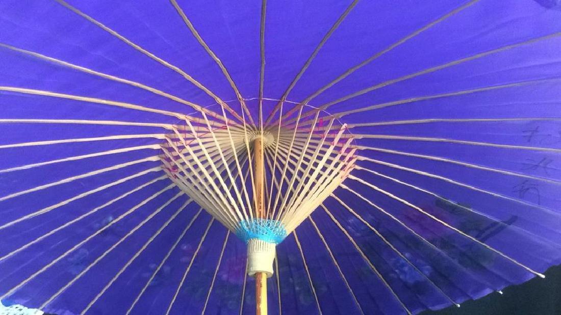Vintage Handpainted Silk Bamboo Parasol Purple - 4