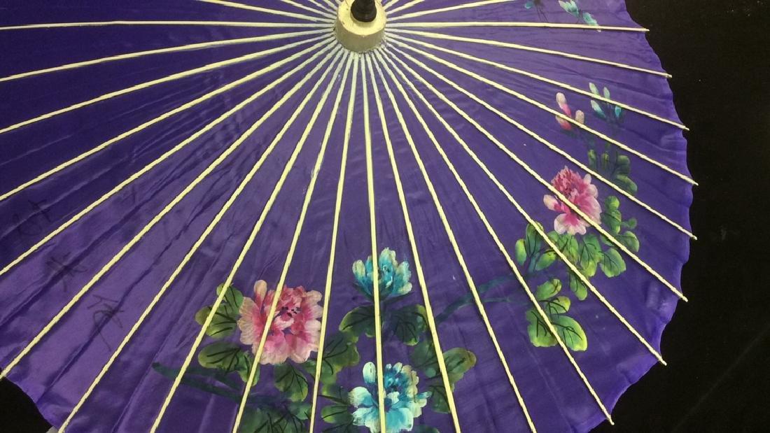 Vintage Handpainted Silk Bamboo Parasol Purple - 5