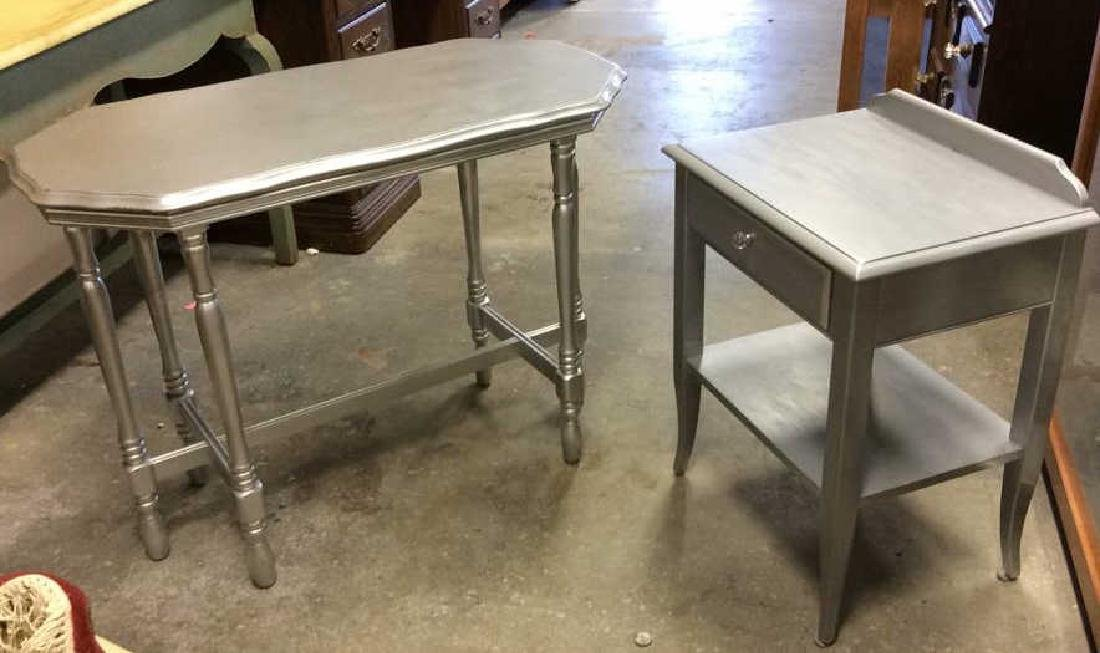 2 Silver painted Wood Vintage Tables One single drawer