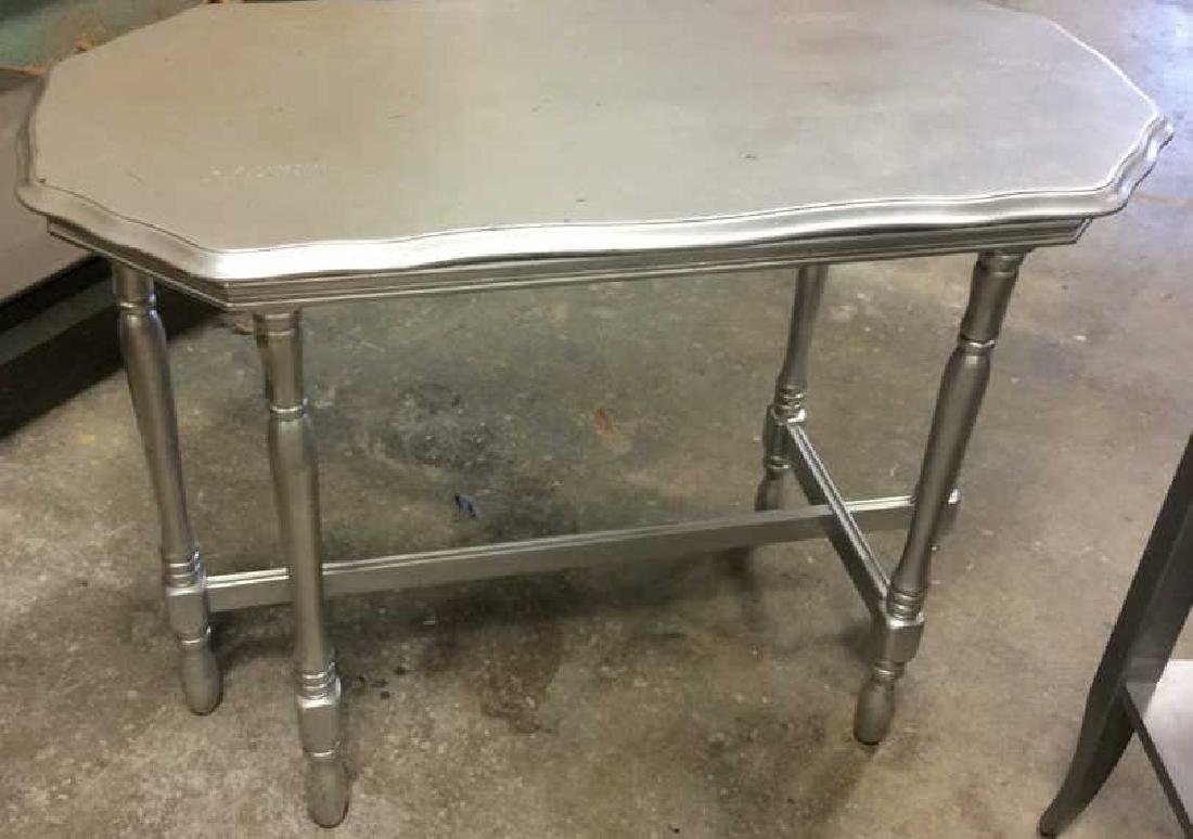 2 Silver painted Wood Vintage Tables One single drawer - 2